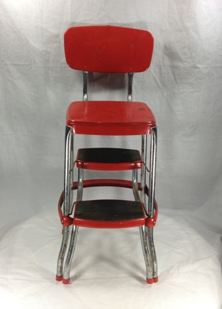 Vintage 1950s Red Amp Chrome Stylaire Cosco Step Stool